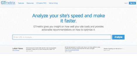 GTMetrix Website Speed Tool