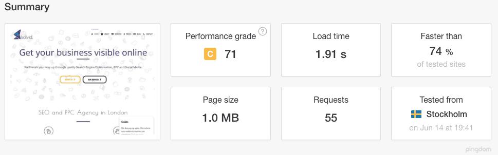 Solvid Website Speed