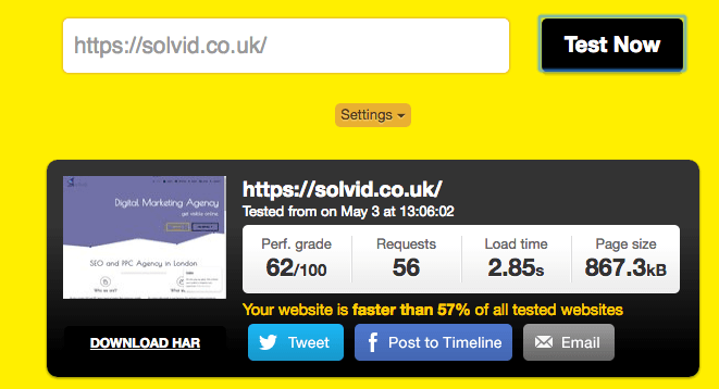 Solvid Website Speed Before