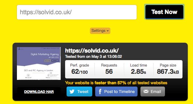 Solvid Website Speed Before