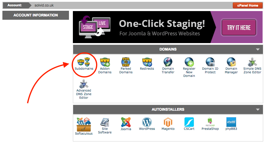 Adding subdomain with Cpanel
