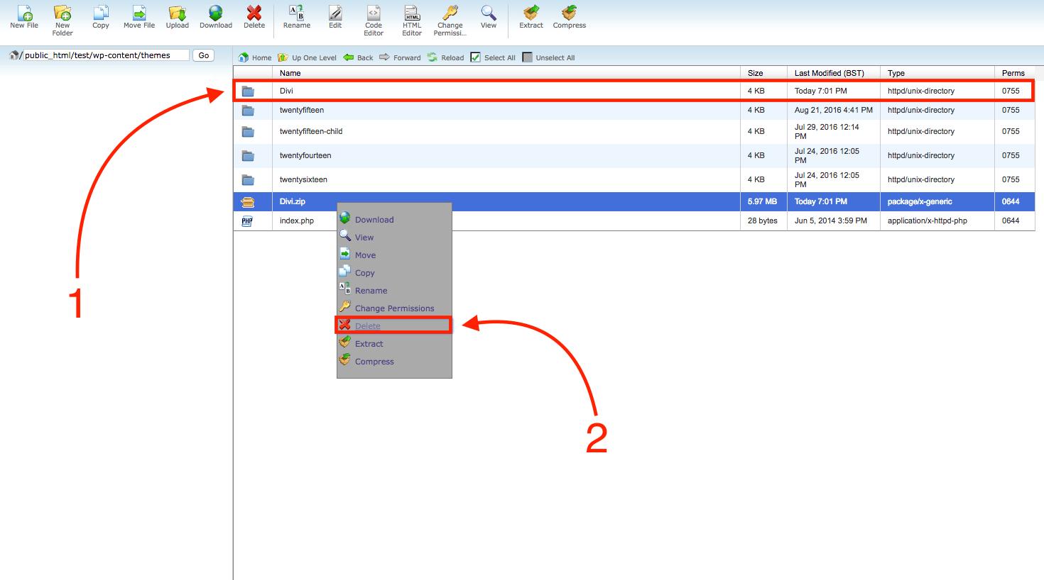 Cpanel deleting zip folder