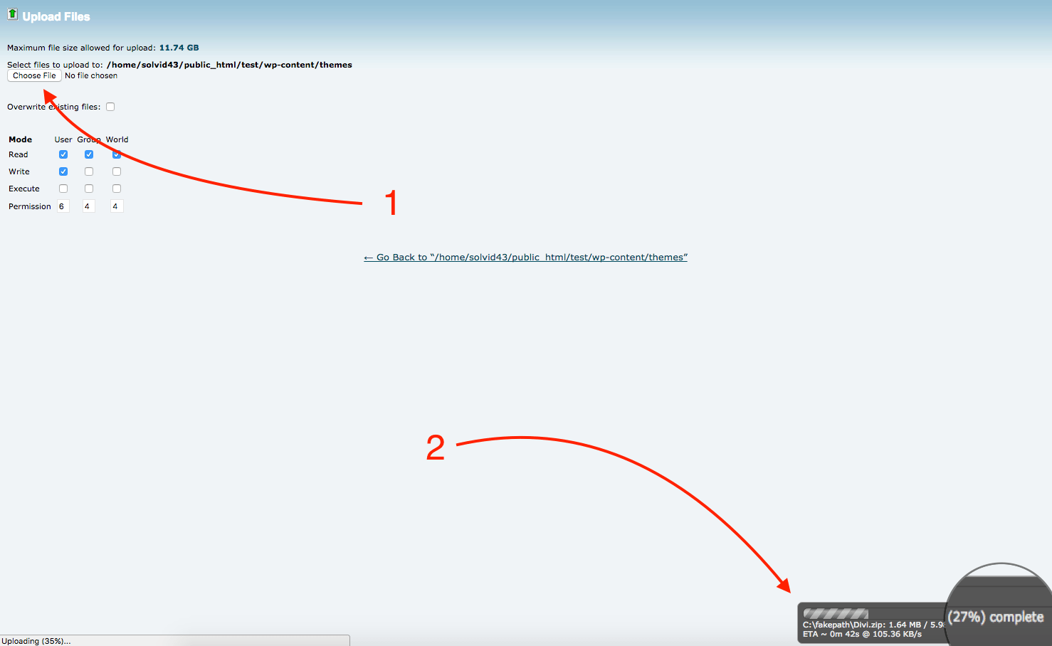 Uploading theme/plugin step 4