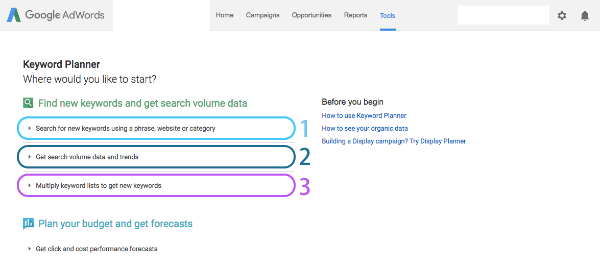 Keyword Planner Research