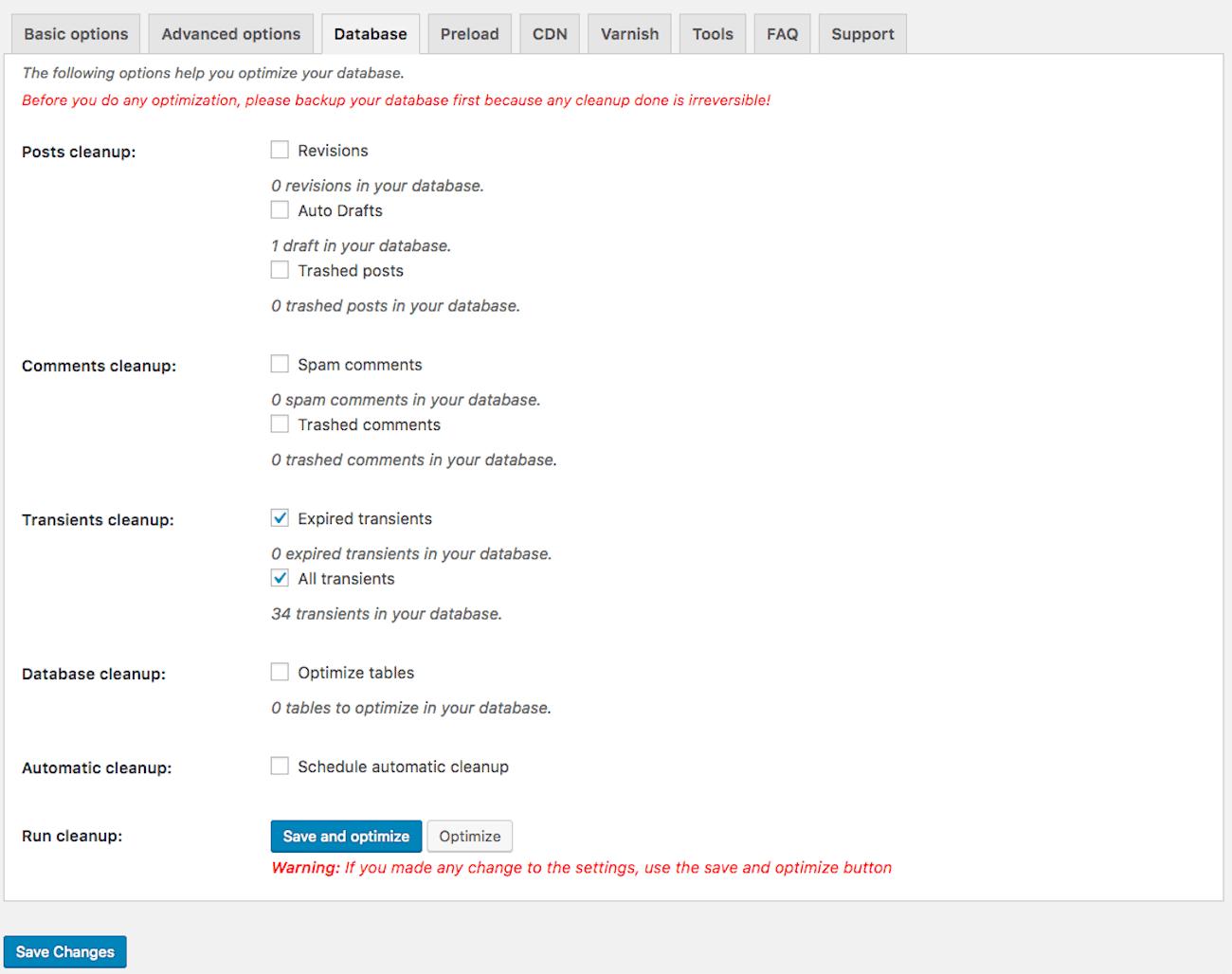 WP-Rocket database options