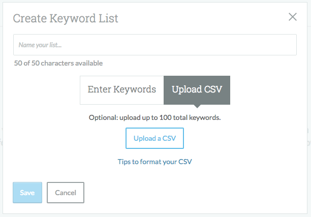 Moz Keyword Explorer Upload Lists
