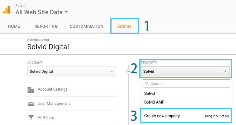 Google Analytics Adding Property