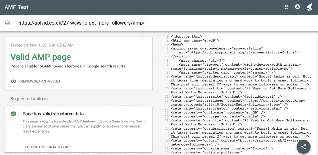 Search Console AMP Test