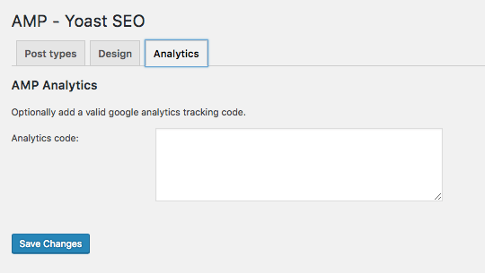 Yoast AMP Glue Google Analytics