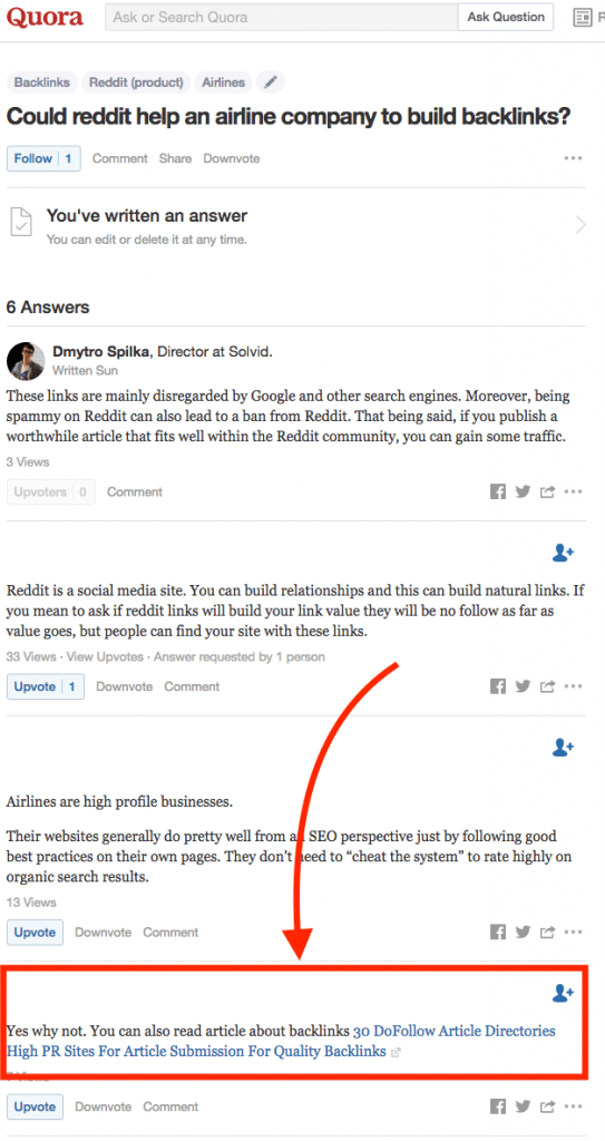 Quora Spammy SEO Answer