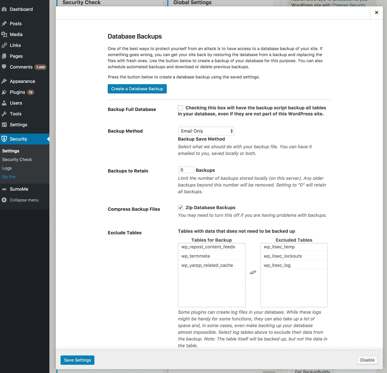 iThemes Database Backup