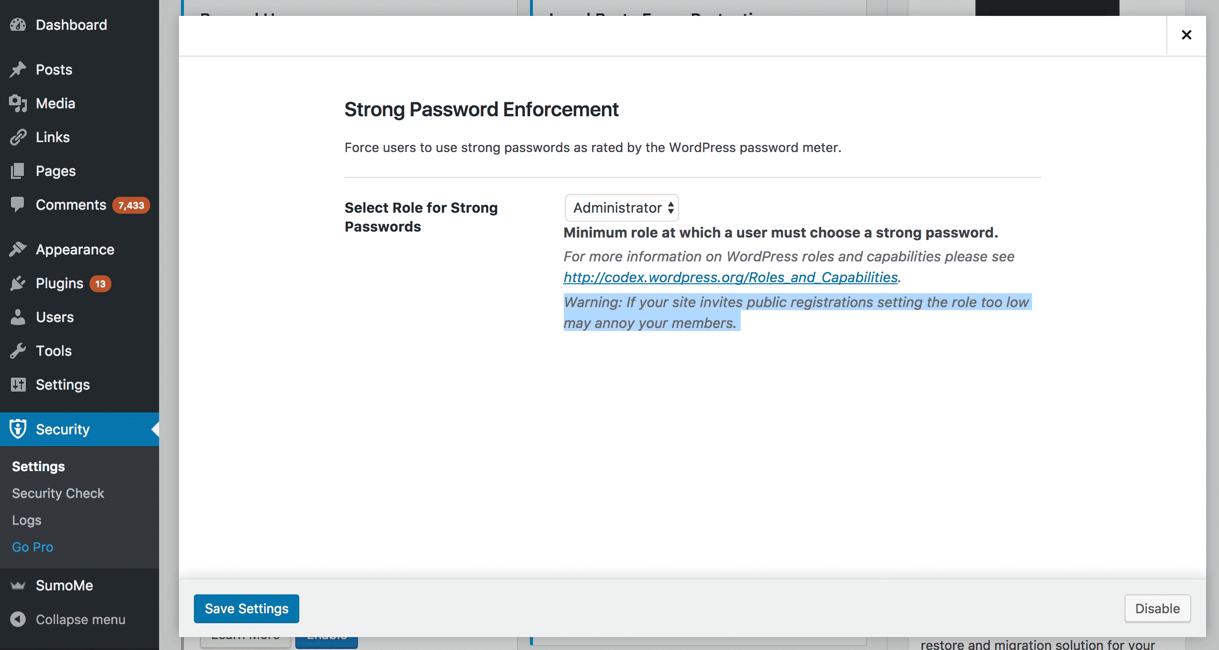 iThemes Strong Password Option