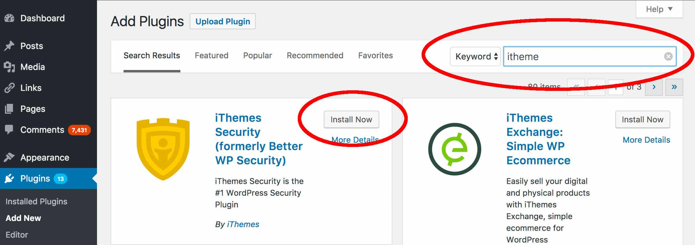 Installing iThemes Security Plugin