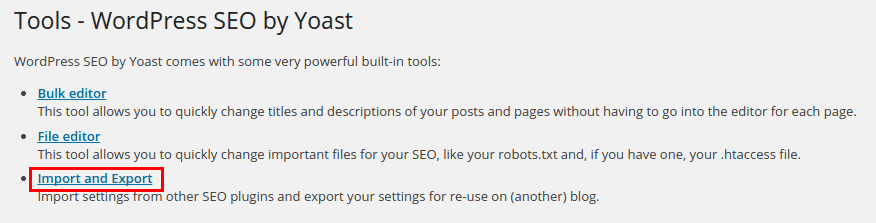 Yoast SEO Import Section