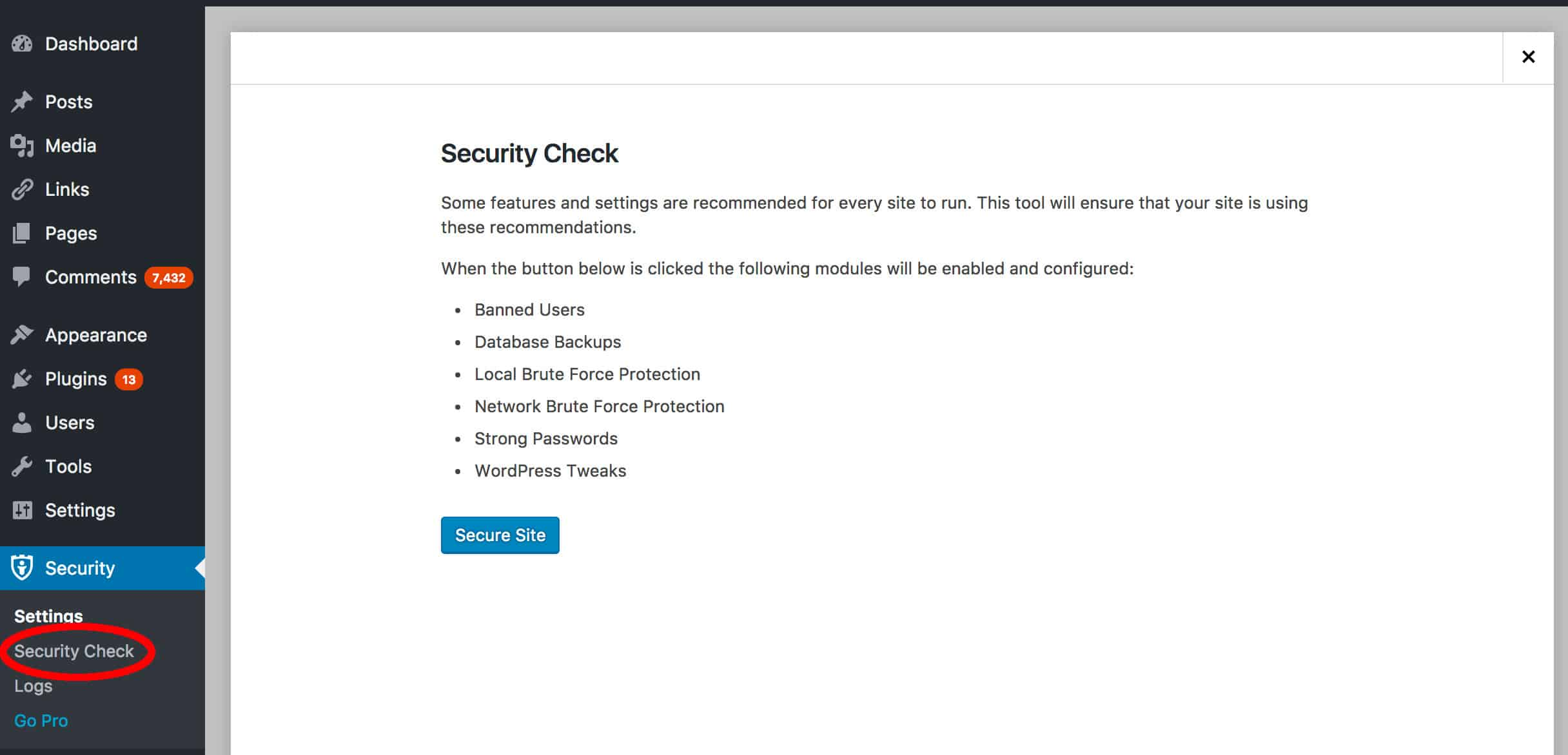 iThemes Security Settings