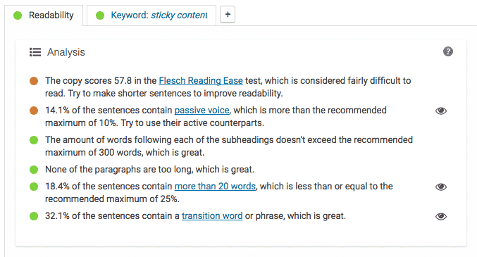 Yoast SEO Readability Section