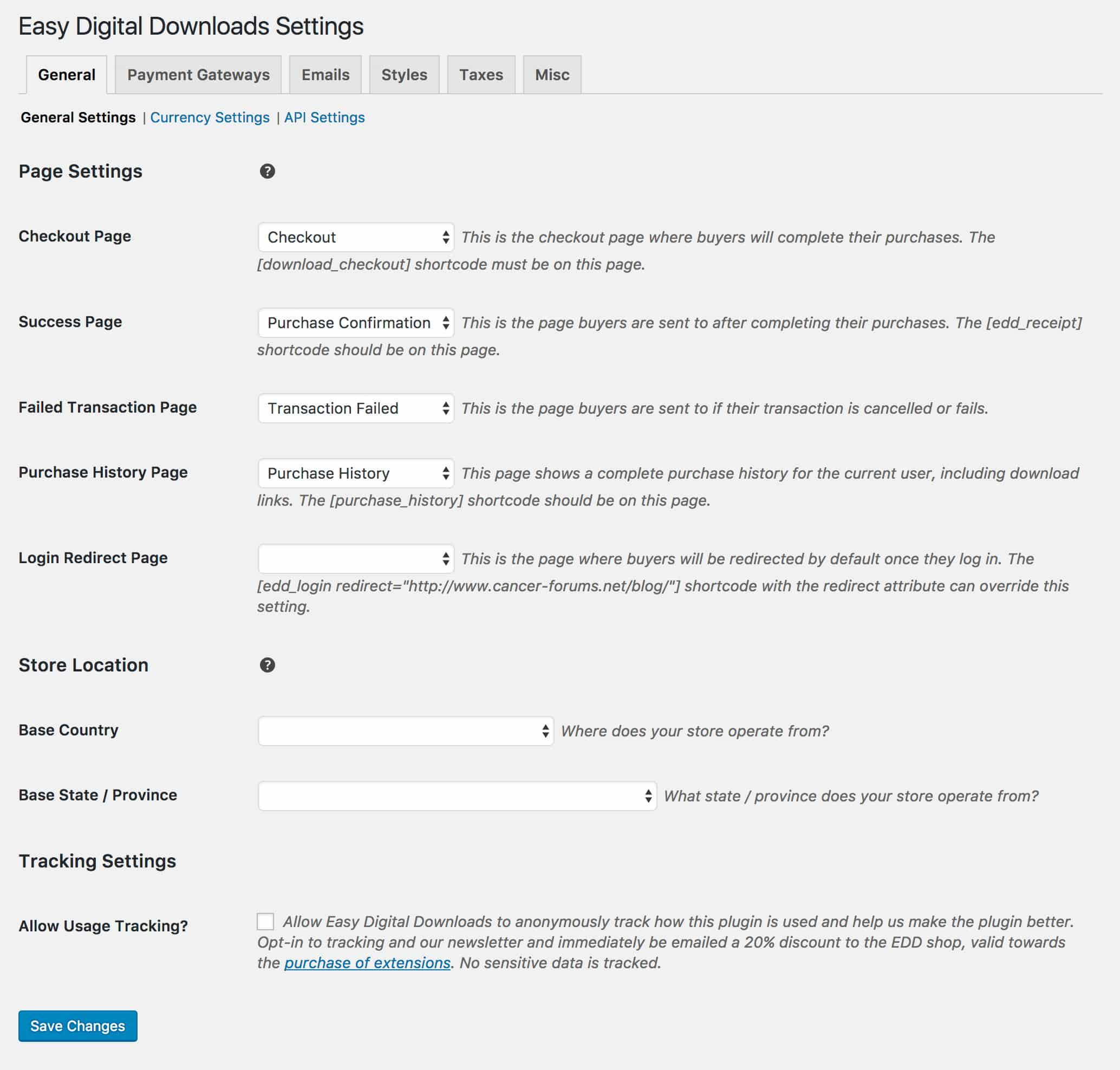 Easy Digital Downloads General Settings
