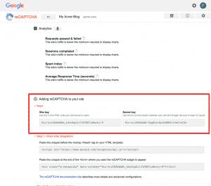 Obtaining Site Key & Security Key For Google reCAPTCHA