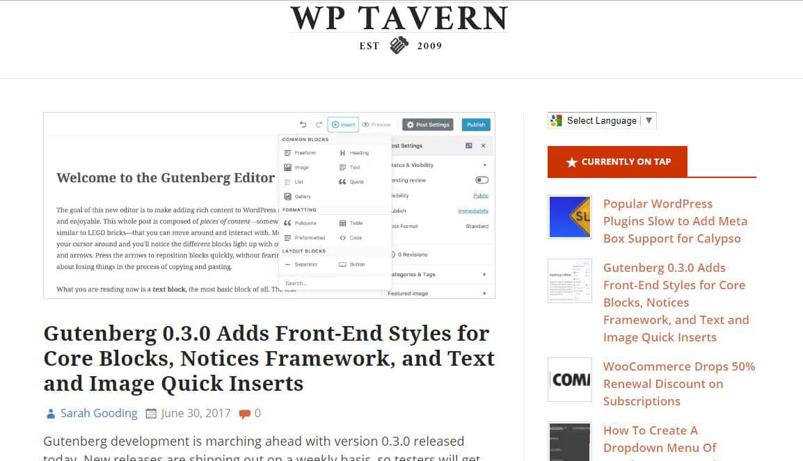 WP Tavern Blog