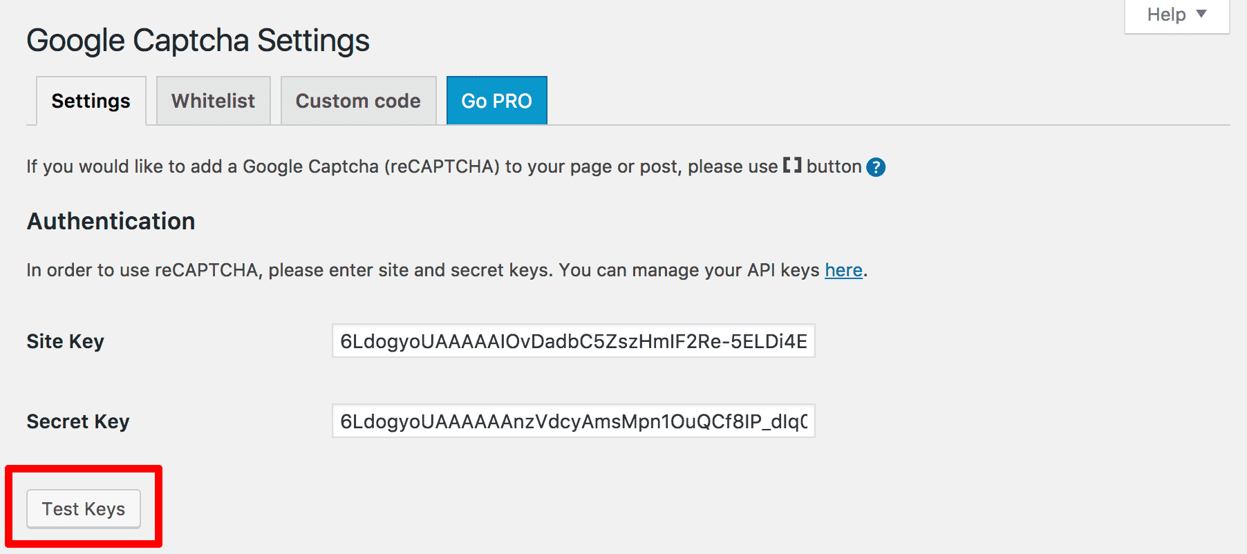 Adding Security Keys in WordPress reCAPTCHA Plugin
