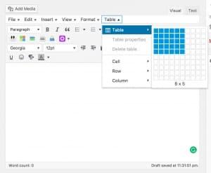 Adding Tables in TinyMCE Advanced Plugin For WordPress