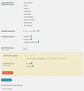 Configuring Google Captcha