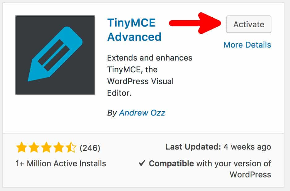 Activating TinyMCE Advanced Plugin