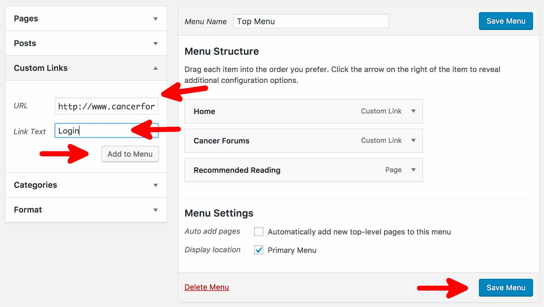 Adding a WordPress Dashboard Link To The Menu