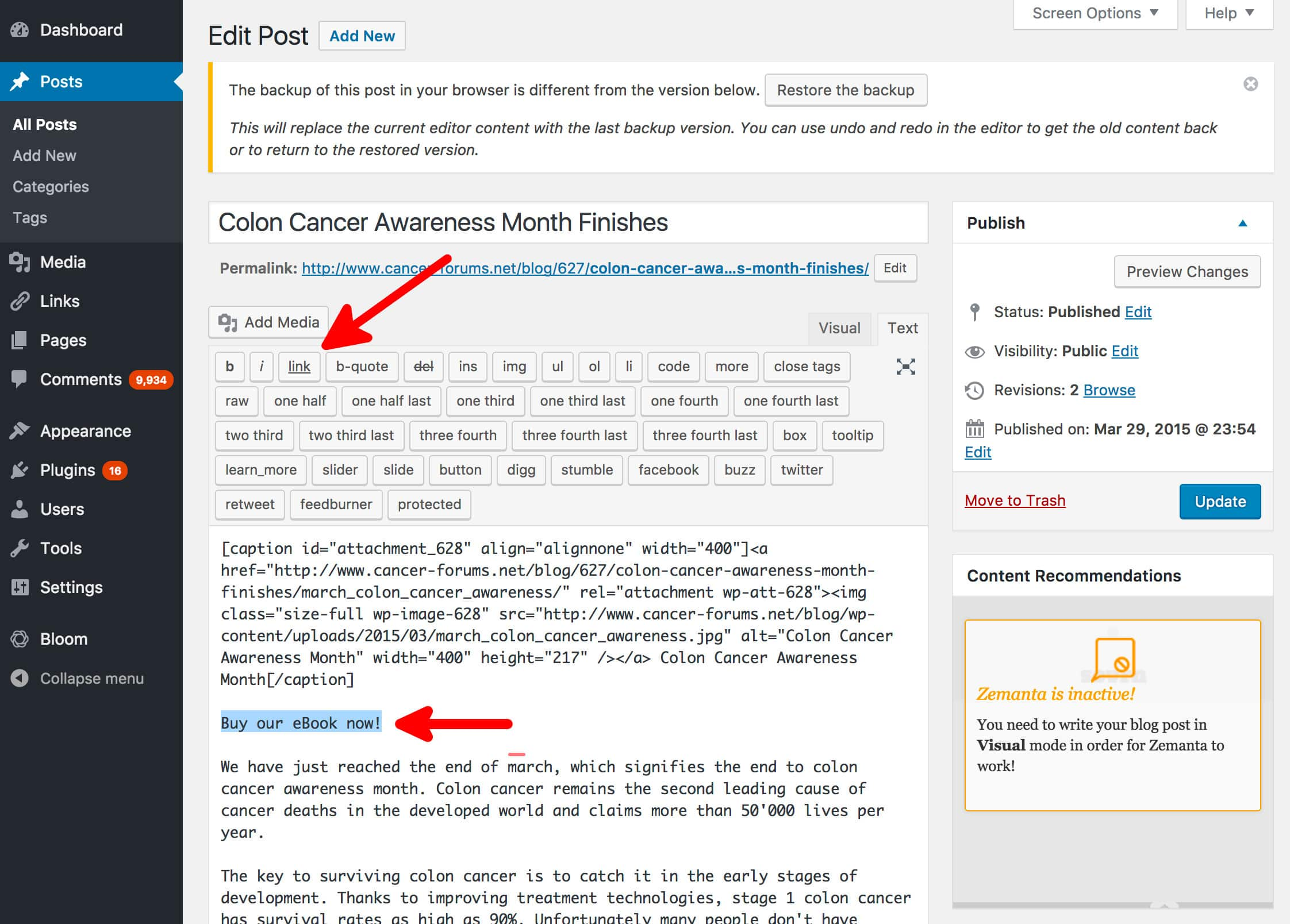 Adding a NoFollow Link To On A Page