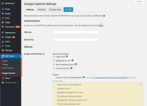 Configuring Google Captcha reCAPTCHA Plugin WordPress