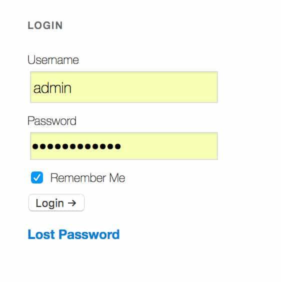 WordPress Sidebar Login Form