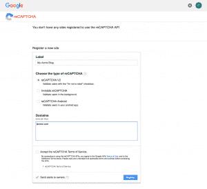 Getting Site Key & Security Key for Google reCAPTCHA