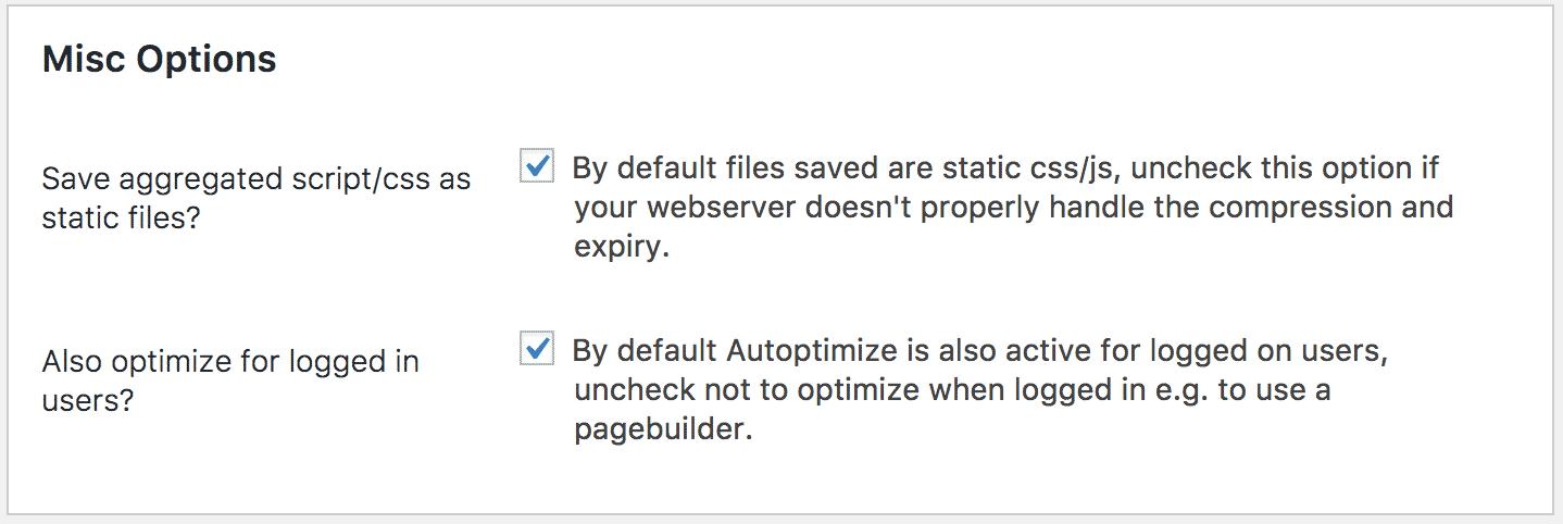 Misc Options Autoptimize Plugin