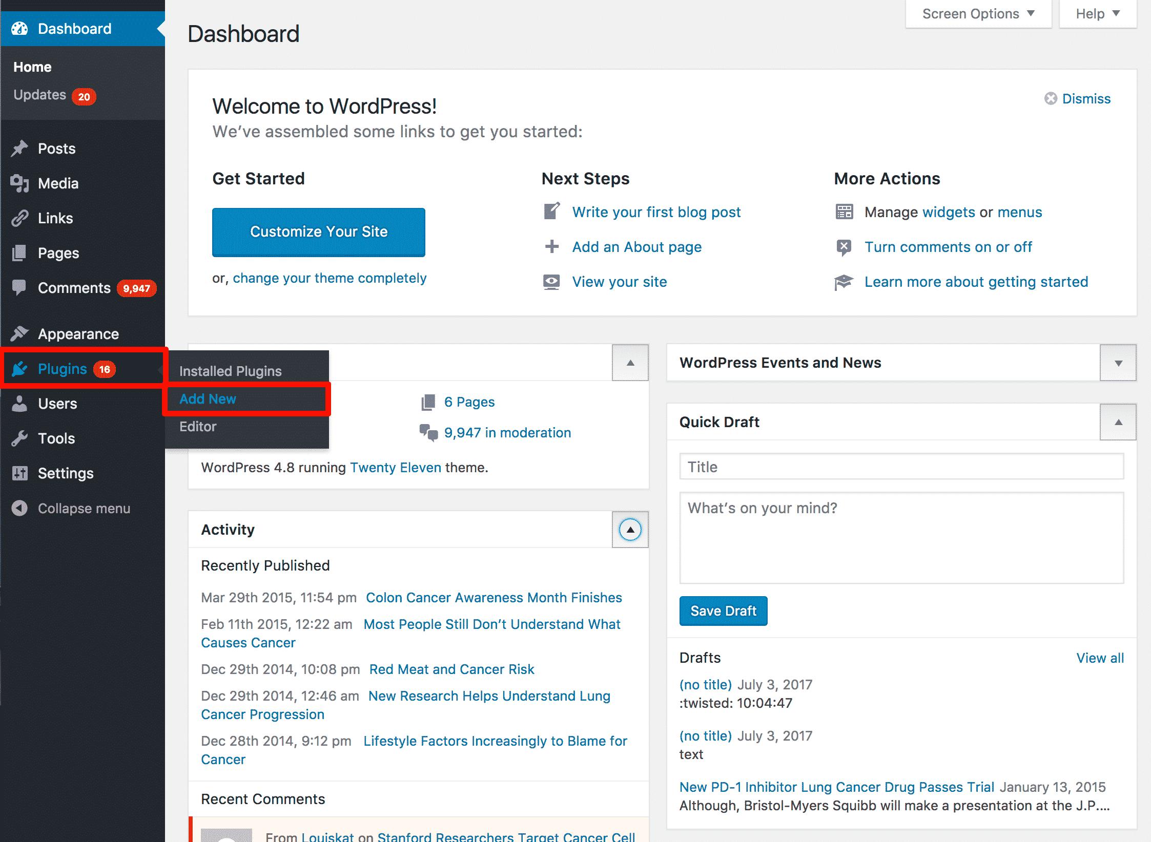 Installing Autoptimize Plugin