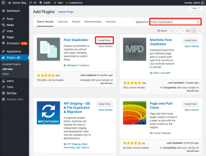 Finding Post Duplicator Plugin in WordPress