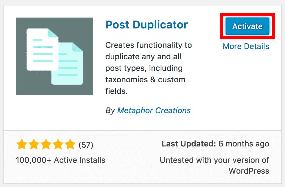 Activating Post Duplicator Plugin