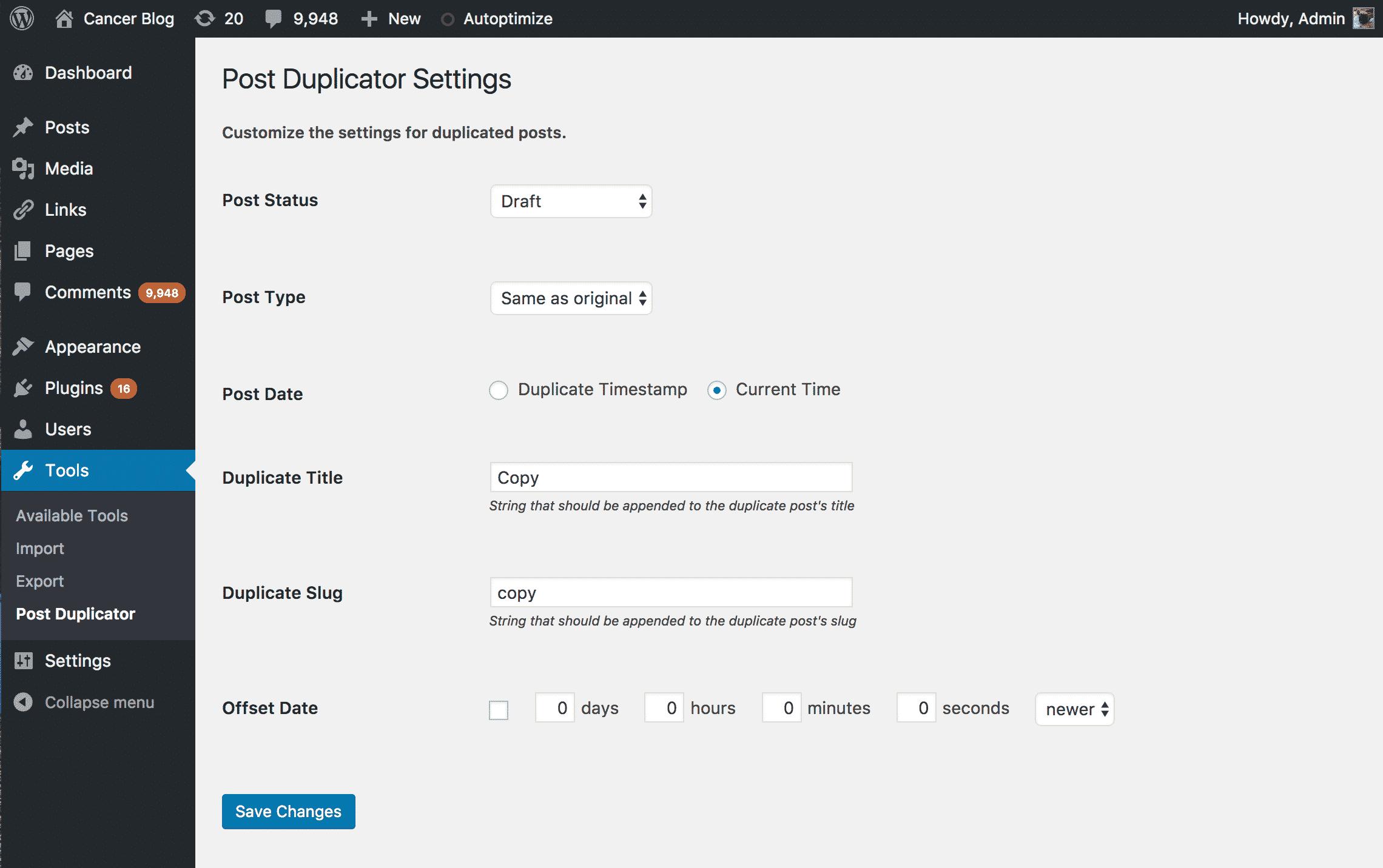 Post Duplicator Plugin Settings