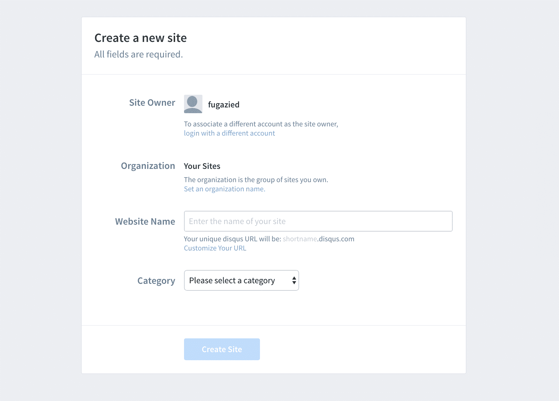 Creating a new site for Disqus