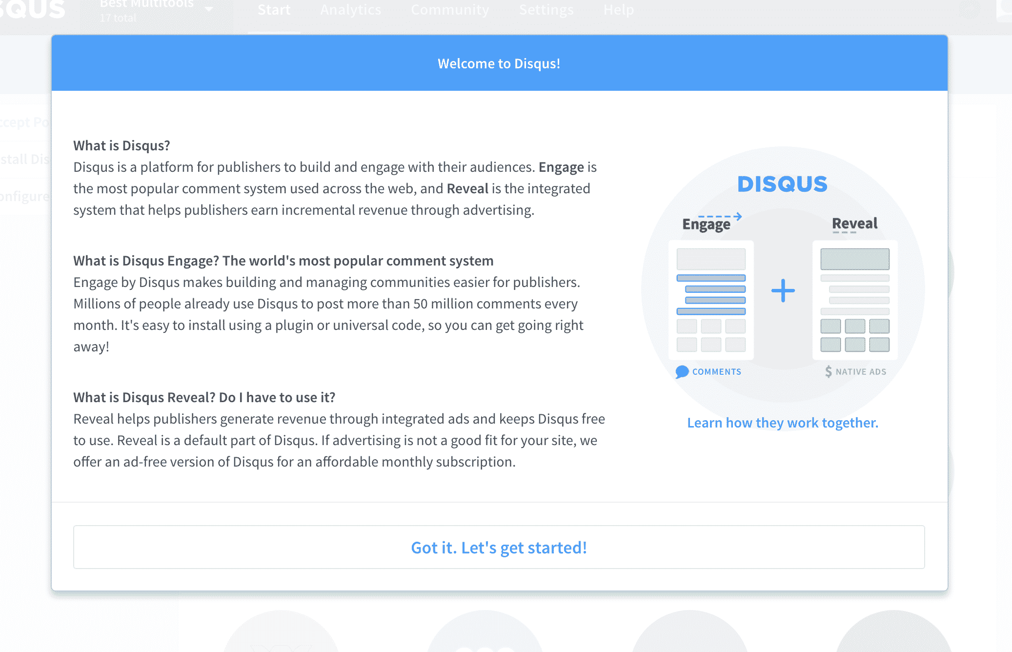 Disqus Welcome Message