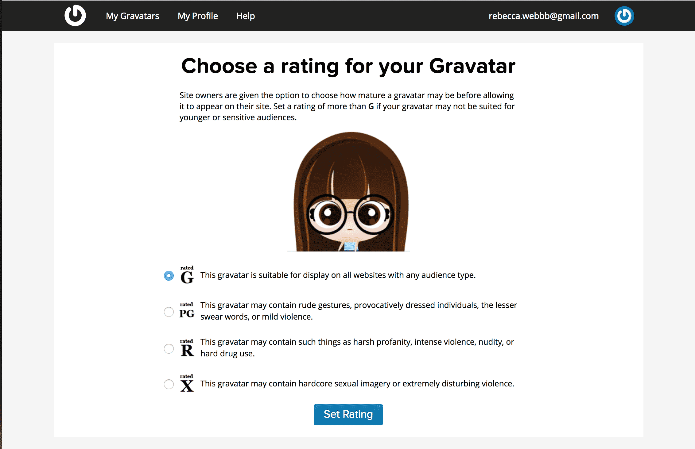 Choosing rating for a gravatar image