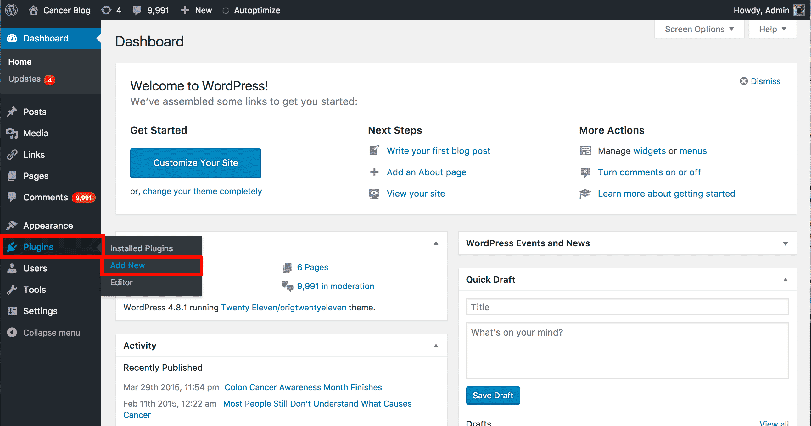 Adding a plugin in WordPress