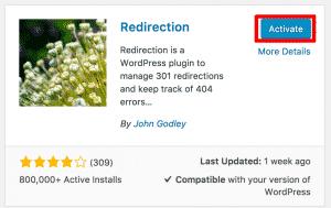 Activating Redirection Plugin WordPress