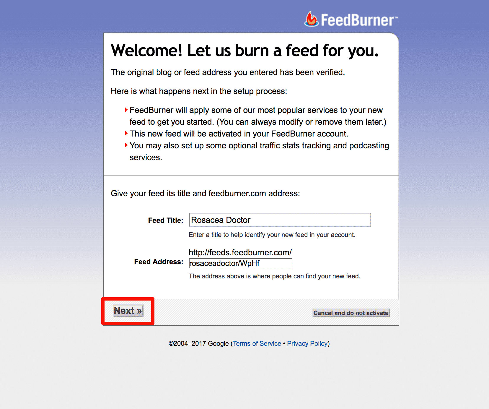 Feedburner Set-Up