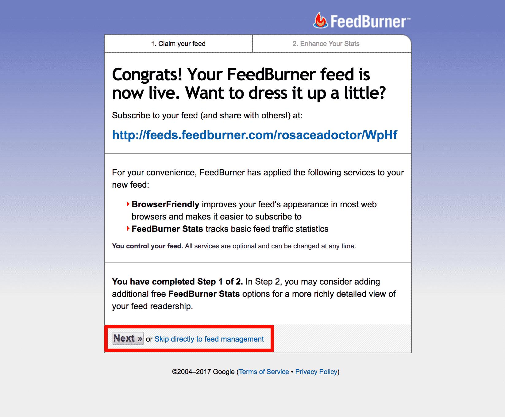 Feedburner Finish