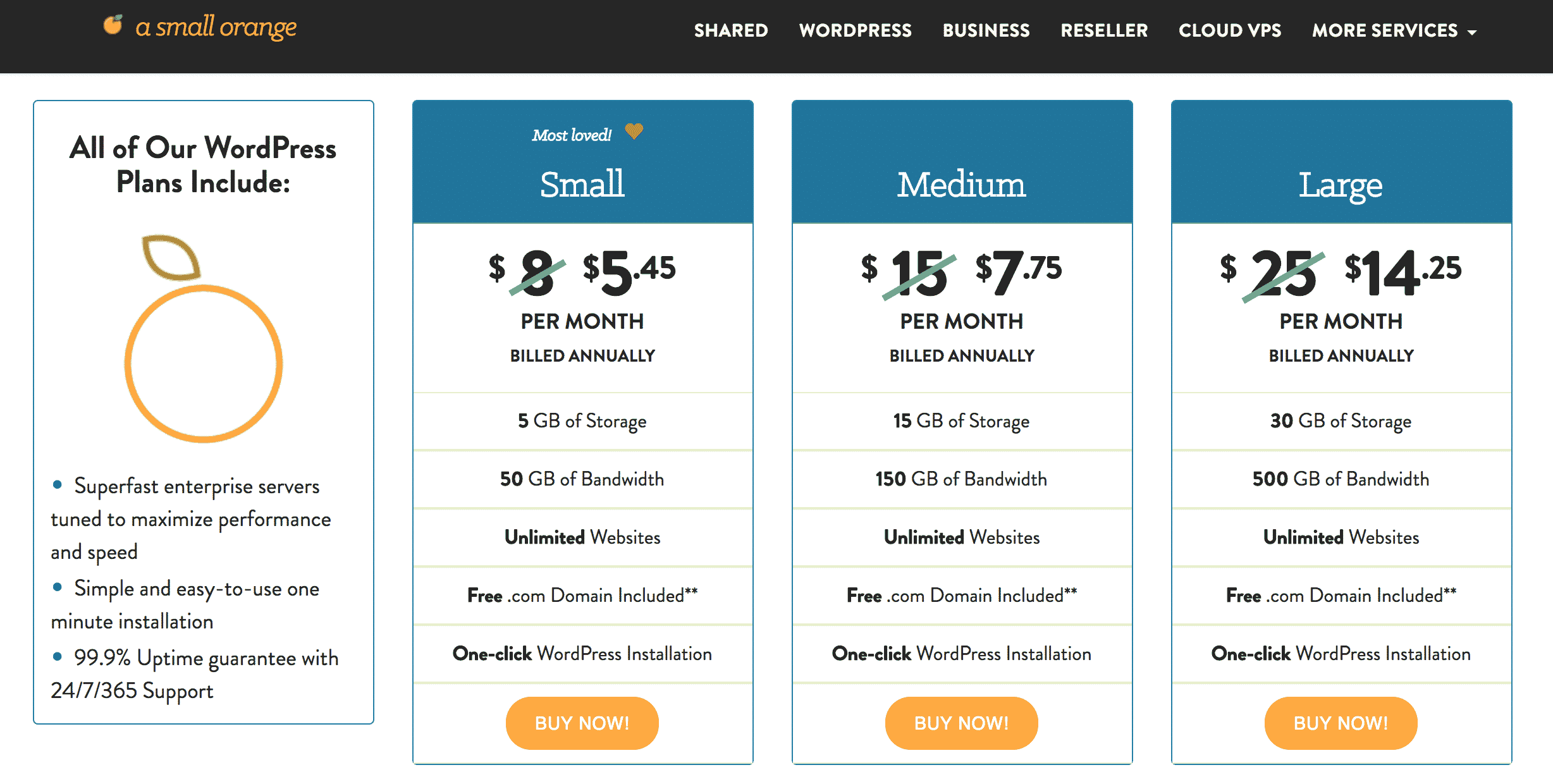 A Small Orange WordPress Hhosting