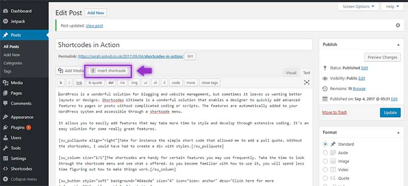 Inserting Shortcodes Ultimate In WordPress Posts