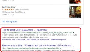 Organic Rankings Example in Google