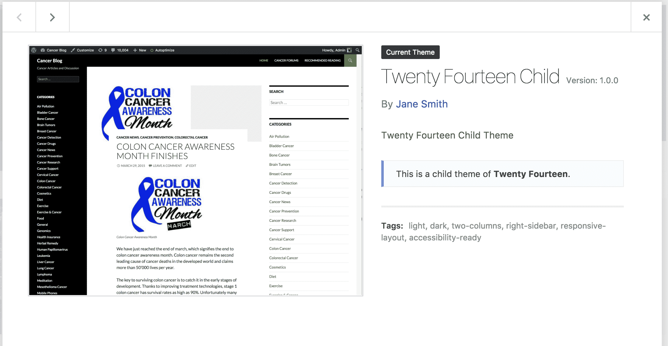Adding a screenshot to wordpress child theme