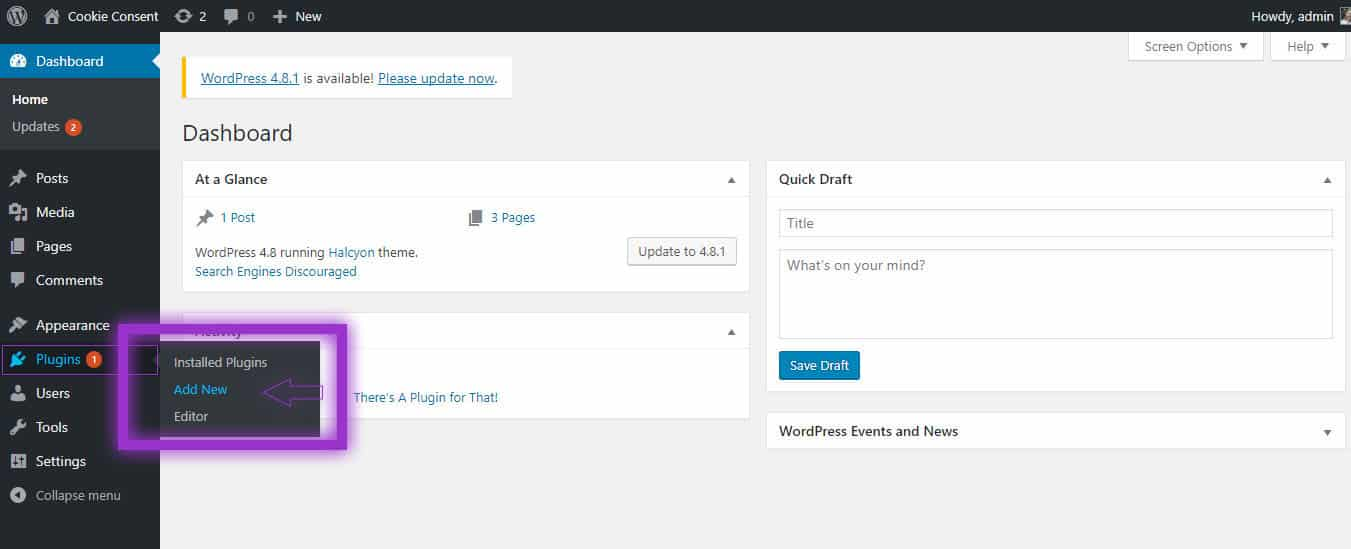 Adding a new plugin WordPress