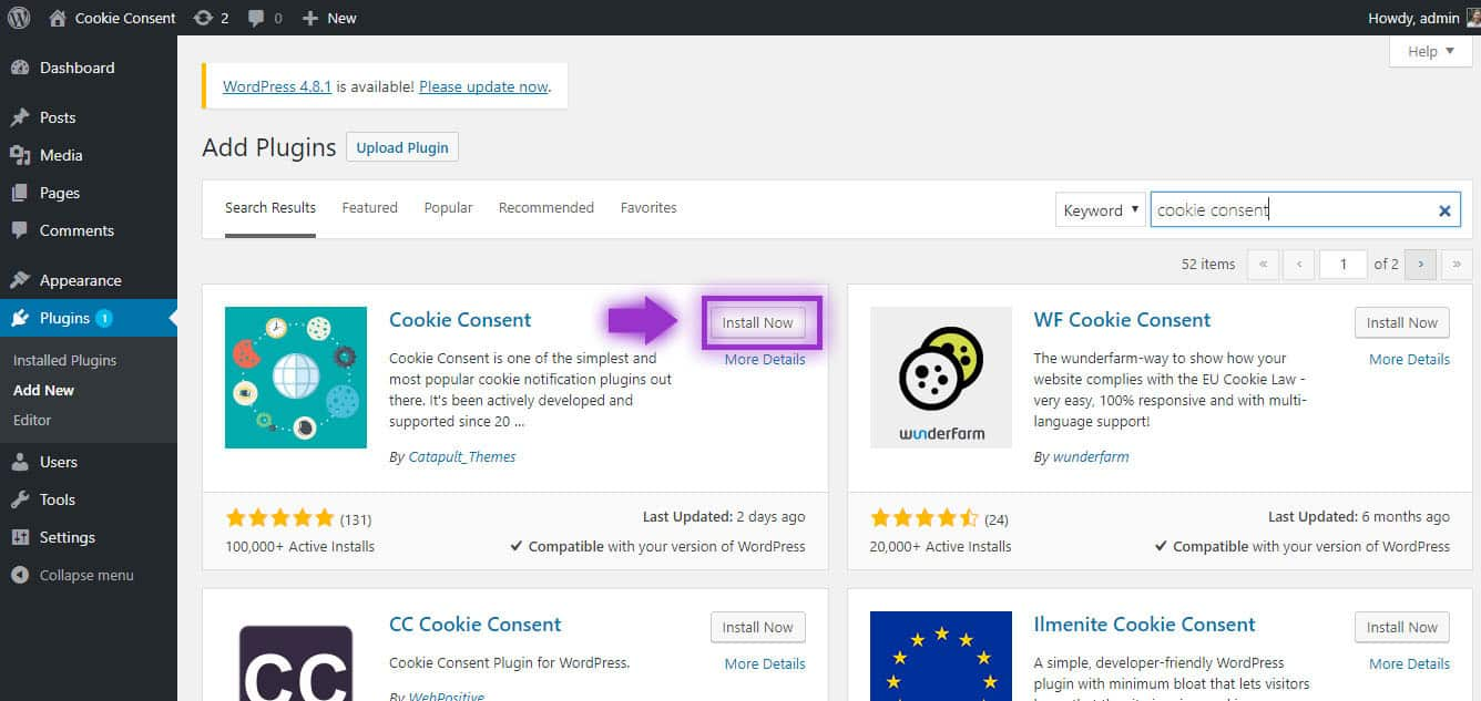 Installing Cookie Consent Plugin WordPress
